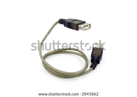 Usb cable in form of snake. Clipping path included. - stock photo