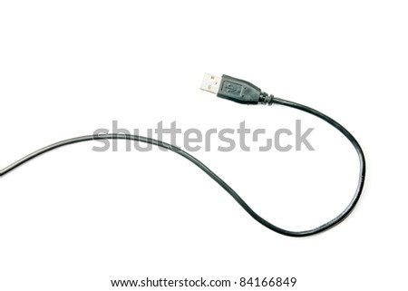 USB cable isolated on white - stock photo