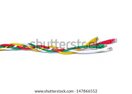 USB cable isolated on white background - stock photo