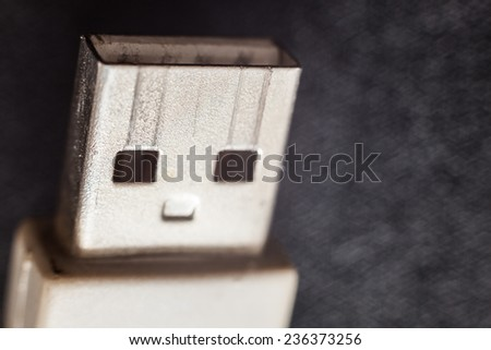 Usb cable looks like man, in macro view.  - stock photo