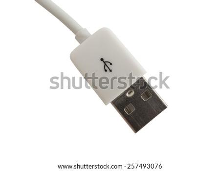 USB Cable Plug isolated on White Background - stock photo