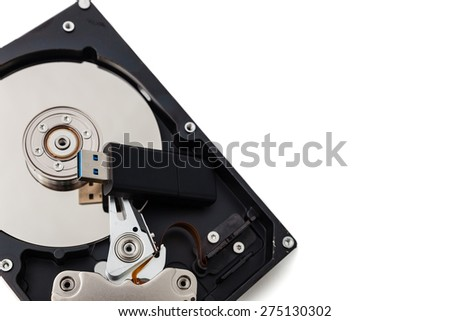 USB flash drive and Hard Disk drives isolate on white background. - stock photo