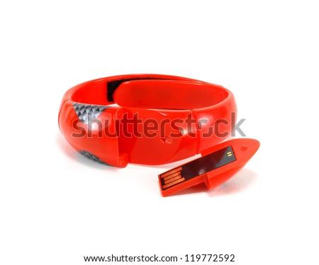 USB flash drive - bracelet on a white background - stock photo