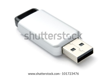 USB Flash Drive closeup on white background - stock photo