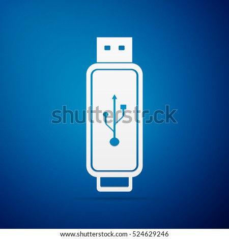 USB flash drive flat icon on blue background