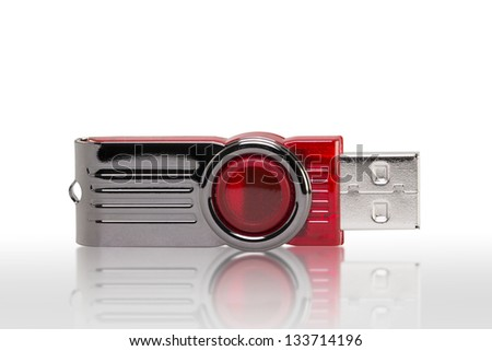 USB flash drive memory (with clipping path) - stock photo