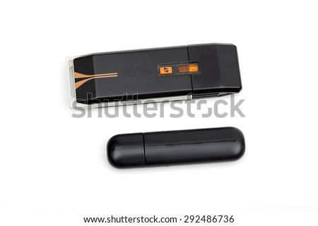 USB flash drive on the white background - stock photo