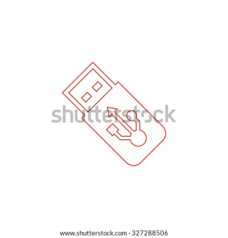 Usb flash drive. Red outline illustration pictogram on white background. Flat simple icon