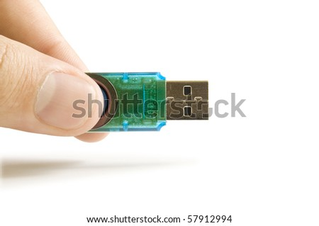 usb flash in the hand isolated on white