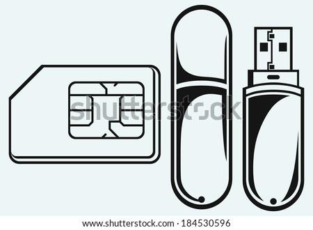 Usb flash memory and mobile phone sim. Raster version - stock photo