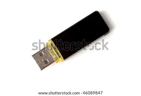Usb flash memory, close-up, isolated on white backround - stock photo
