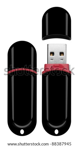 Usb flash memory isolated on the white background - stock photo