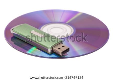 Usb flash memory on disk isolated on white backround  - stock photo