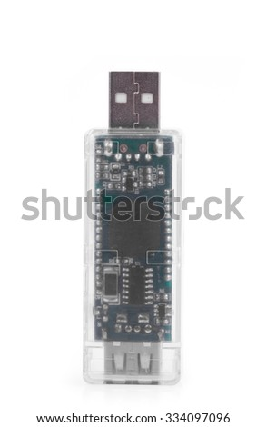 USB memory stick in black and white isolated on white background - stock photo