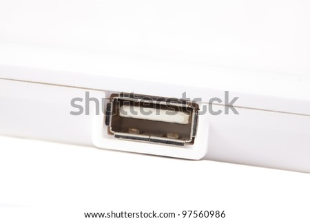 Usb port, white background - stock photo