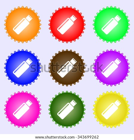 Usb sign icon. Usb flash drive stick symbol. A set of nine different colored labels. illustration - stock photo
