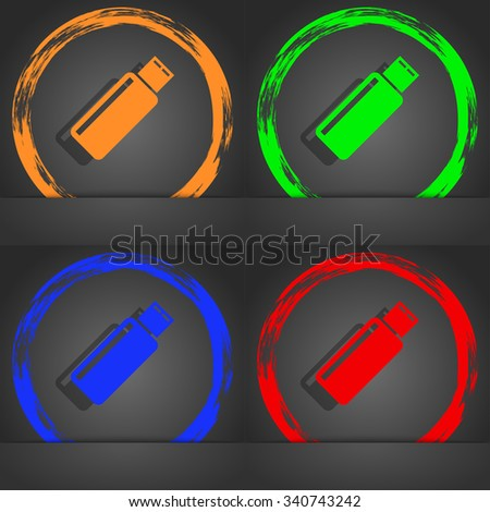 Usb sign icon. Usb flash drive stick symbol. Fashionable modern style. In the orange, green, blue, red design. illustration - stock photo