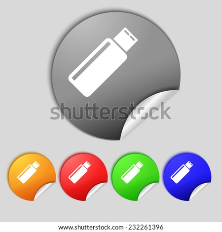 Usb sign icon. Usb flash drive stick symbol. Set colourful buttons.  illustration - stock photo