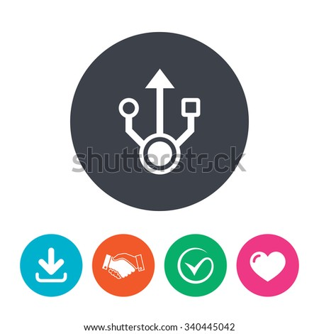 Usb sign icon. Usb flash drive symbol. Download arrow, handshake, tick and heart. Flat circle buttons. - stock photo