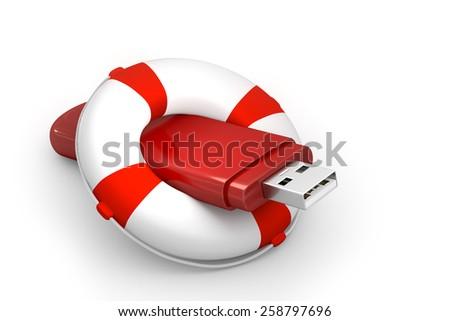 USB stick with lifebuoy - stock photo