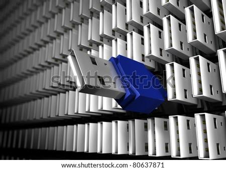 usb wall - stock photo