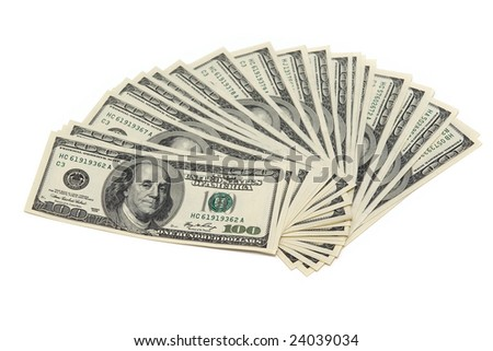 USD banknotes isolated on white background - stock photo