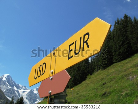 USD-EUR sign against alpine scenery