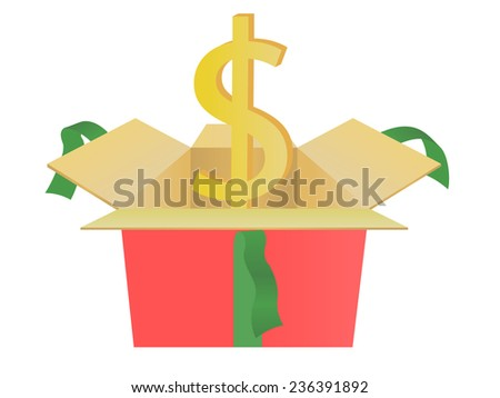 usd of gift box  - stock photo