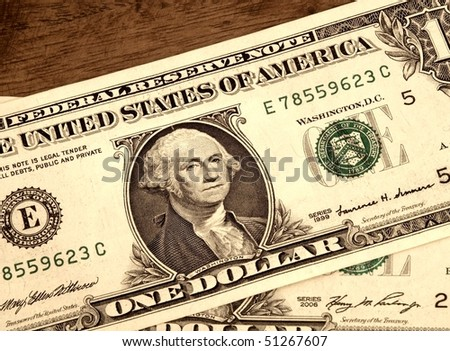 USD 1 One United States Dollar Bills Close Up