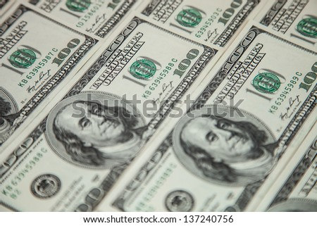 USD paper currency; many dollar banknotes