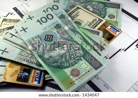 usd, pln and credit card - stock photo