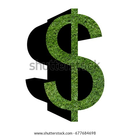Usd Usa Dollar Symbol Grass Texture Stock Illustration 677684698