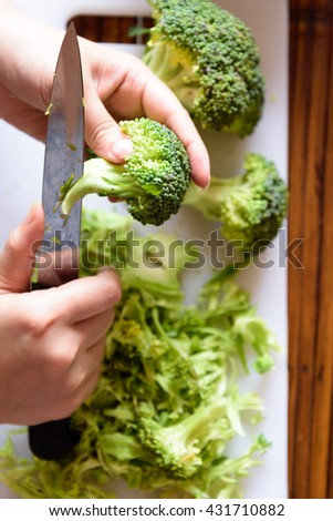 Use a knife to peel broccoli.