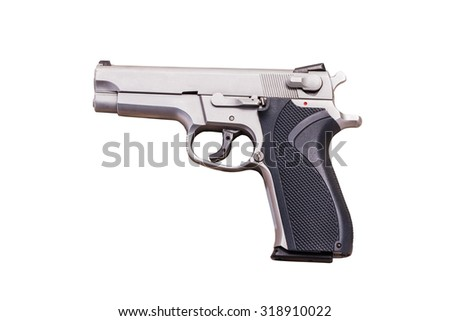 Use Modern handgun M9 close-up. Isolated on a white background. - stock photo
