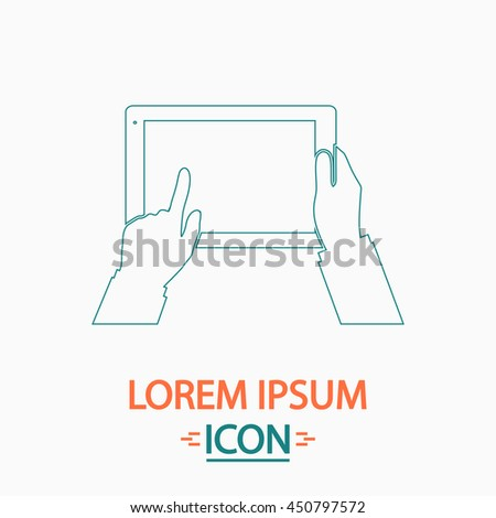 Use Tablet Flat thin line icon on white background. Illustration pictogram