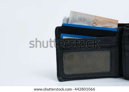 use wallet black and credit card on white blackground