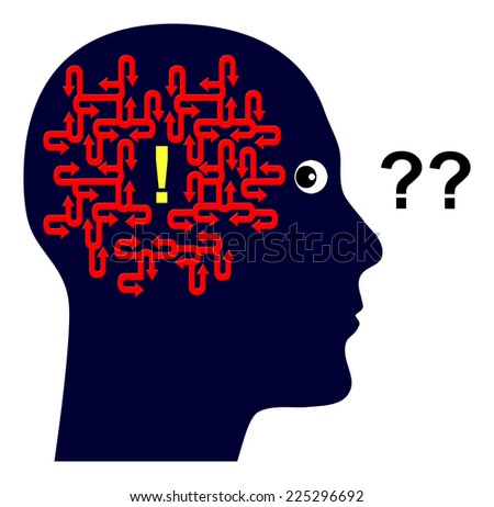 Use your Brain. Concept sign of a scientist who keeps on thinking til he finds the solution - stock photo