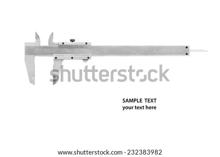 Used and dirty caliper, device used to measure with sample text on white background. - stock photo