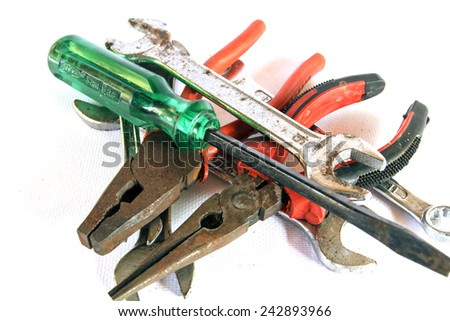 Used and old Many Tools have dust and rust on white background - stock photo