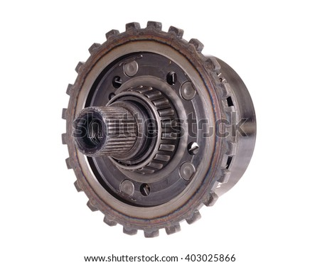 used automotive automatic transmission gears isolated on white - stock photo