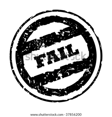 Used black business fail stamp, isolated on white background. - stock photo