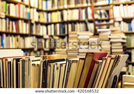 used books in the bookstore - stock photo