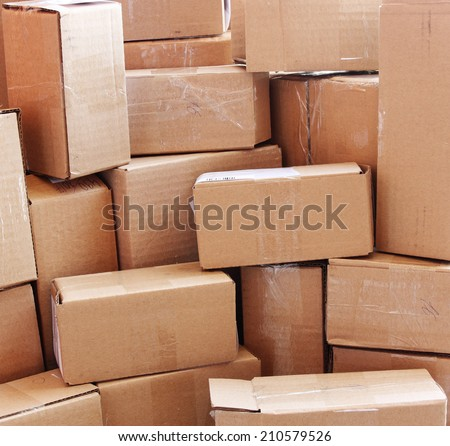 used cardboard boxes - stock photo
