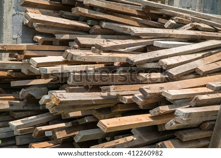 used construction Wood, lumber prepare for construction building. - stock photo