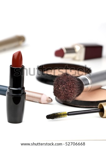 used cosmetics over white, shallow DOF , for various makeup,fashion or cosmetics themes - stock photo