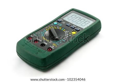 Used digital multimeter isolated on a white background