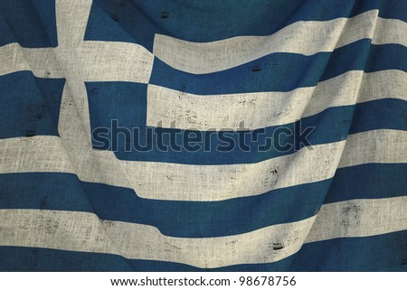 used fabric greece flag - close up - stock photo