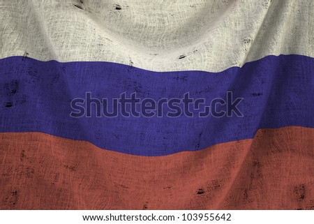 used fabric russia flag - close up - stock photo