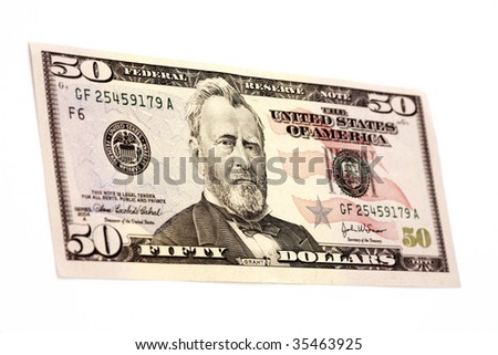 Used fifty dollar bill,isolated on a white background - stock photo
