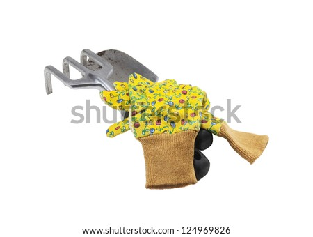 used garden tools for planting in the garden - stock photo